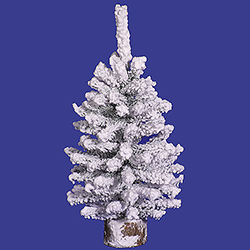 18 Inch Flocked Mini Pine Tree Wood Base Unlit
