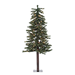 4 Foot Natural Alpine Artificial Christmas Tree 100 Clear Lights