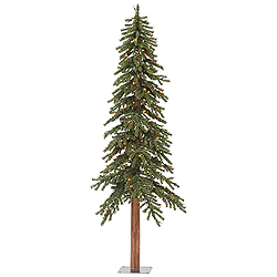 8 Foot Natural Alpine Artificial Christmas Tree 400 Incandescent Multi-Colored Mini Lights