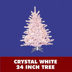 2 Foot Crystal White Lighted Artificial Christmas Tree With Clear Lights