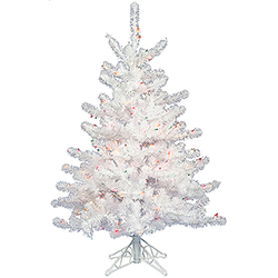 2 Foot Crystal White Artificial Christmas Tree 50 DuraLit Multi Lights