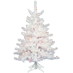 3 Foot Crystal White Artificial Christmas Tree 50 DuraLit Multi Lights