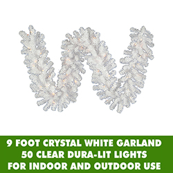 9 Foot Crystal White Garland 50 DuraLit Lights