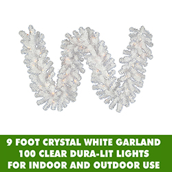 9 Foot Crystal White Garland 100 DuraLit Lights