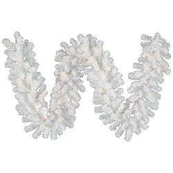 9 Foot Crystal White Garland 100 LED Warm White Lights