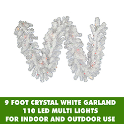 9 Foot Crystal White Garland 110 LED M5 Italian Frosted Multi Color Mini Lights