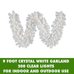 9 Foot Crystal White Garland 200 Clear Lights