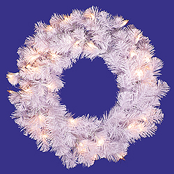20 Inch Crystal White Wreath 50 DuraLit Clear Light