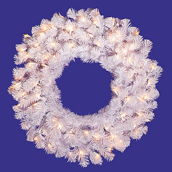 24 Inch Crystal White Wreath 50 DuraLit Clear Lights
