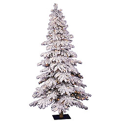 4 Foot Flocked Spruce Artificial Christmas Tree 150 DuraLit Clear Lights