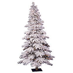 7 Foot Flocked Spruce Artificial Christmas Tree 400 DuraLit Clear Lights