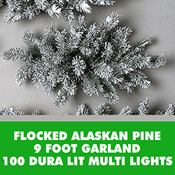 9 Foot Flocked Alaskan Garland 100 DuraLit Multi Lights