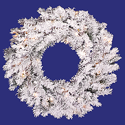 24 Inch Flocked Alaskan Wreath 50 DuraLit Clear Lights