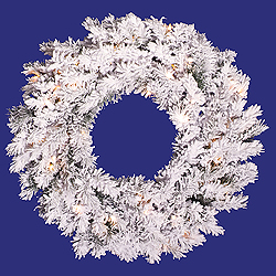 36 Inch Flocked Alaskan Wreath 100 DuraLit Clear Lights