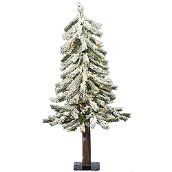 2 Foot Flocked Alpine Artificial Christmas Tree 50 DuraLit Clear Lights