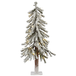 2 Foot Flocked Alpine Artificial Christmas Tree 50 LED Warm White Lights