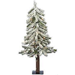 3 Foot Flocked Alpine Artificial Christmas Tree 50 DuraLit Clear Lights