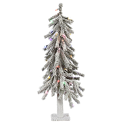 3 Foot Flocked Alpine Artificial Christmas Tree 50 LED Multi Lights