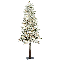 5 Foot Flocked Alpine Artificial Christmas Tree 150 DuraLit Clear Lights