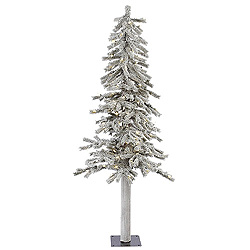 5 Foot Flocked Alpine Artificial Christmas Tree 150 LED Warm White Lights