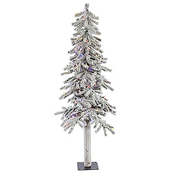 5 Foot Flocked Alpine Artificial Christmas Tree 150 LED Multi Lights