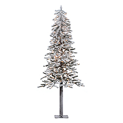 6 Foot Flocked Alpine Artificial Christmas Tree 200 DuraLit Clear Lights