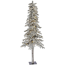 6 Foot Flocked Alpine Artificial Christmas Tree 200 LED Warm White Lights