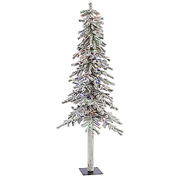 6 Foot Flocked Alpine Artificial Christmas Tree 200 LED Multi Lights