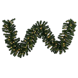 9 Foot Douglas Fir Garland 14 Inch Diameter 100 LED Warm White Lights