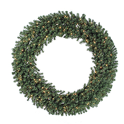 7 Foot Douglas Artificial Christmas Wreath 400 DuraLit Clear Lights