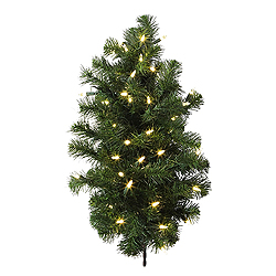2 Foot Douglas Artificial Christmas Wall Tree 50 LED Warm White Lights