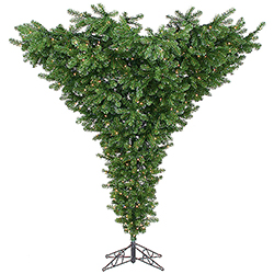 9 Foot Upside Down Artificial Christmas Tree 800 Clear Lights