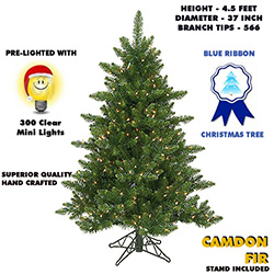 4.5 Foot Camdon Fir Lighted Artificial Christmas Tree With Clear Tree Lights