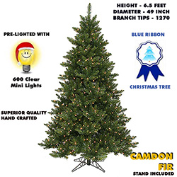 6.5 Foot Camdon Fir Lighted Artificial Christmas Tree With Clear Tree Lights