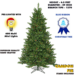 6.5 Foot Camdon Fir Lighted Artificial Christmas Tree With Multi Tree Lights