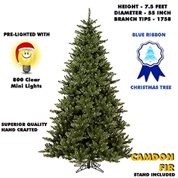 7.5 Foot Camdon Fir Lighted Artificial Christmas Tree With Clear Tree Lights