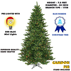 7.5 Foot Camdon Fir Lighted Artificial Christmas Tree With Multi Tree Lights