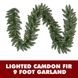 9 Foot Lighted Camdon Fir Garland Clear Lights