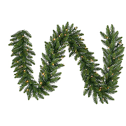 9 Foot Camdon Fir Garland 50 LED Warm White Lights
