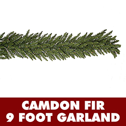 9 Foot Camdon Fir Artificial Christmas Garland 14 Inch Wide 100 DuraLit Incandescent Clear Mini Lights