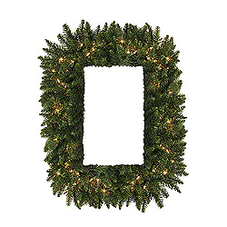 36 Inch Camdon Rectangle Wreath 100 DuraLit Clear Lights