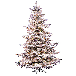 6.5 Foot Flocked Sierra Artificial Christmas Tree 550 DuraLit Clear Lights