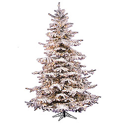 7.5 Foot Flocked Sierra Artificial Christmas Tree 750 DuraLit Clear Lights