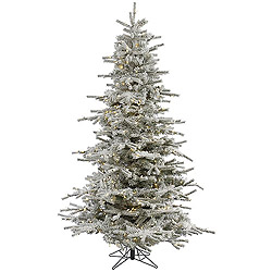 7.5 Foot Flocked Sierra Artificial Christmas Tree 600 LED Warm White Lights