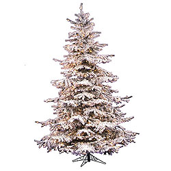 8.5 Foot Flocked Sierra Artificial Christmas Tree 850 DuraLit Clear Lights