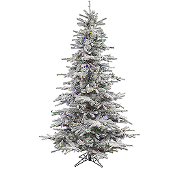 8.5 Foot Flocked Sierra Artificial Christmas Tree 700 LED Multi Lights