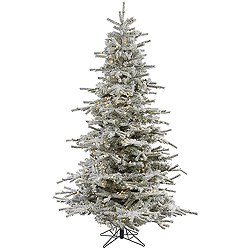 10 Foot Flocked Sierra Artificial Christmas Tree 1100 LED Warm White Lights