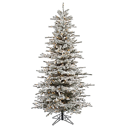 8.5 Foot Flocked Slim Sierra Artificial Christmas Tree 850 Clear Lights