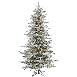 8.5 Foot Flocked Slim Sierra Artificial Christmas Tree 850 LED Warm White Lights