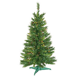 3.5 Foot Prelighted Imperial Artificial Christmas Tree 150 DuraLit Incandescent Multi Color Mini Lights